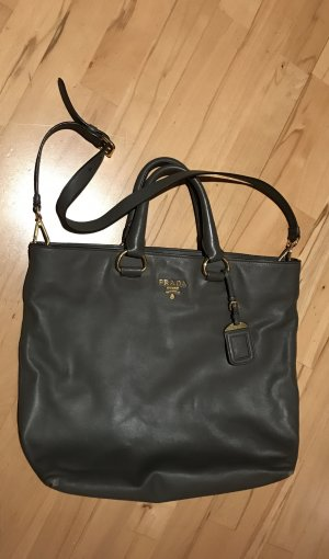 Prada Borsa shopper antracite-marrone-grigio Pelle