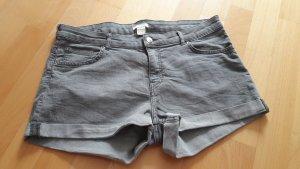 H&M Pantalón corto de tela vaquera gris claro Algodón