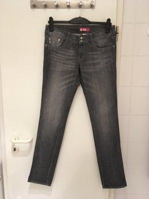 """Graue Skinny-Jeans """"Sqin"""" mit Details von H&M in Gr. 31"""