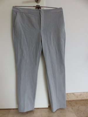 Zara Basic Pantalon à pinces blanc-gris clair tissu mixte