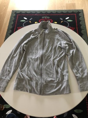 Chaqueta de tela de sudadera gris claro-color plata