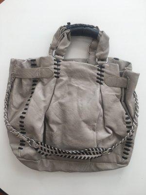 Zara Pouch Bag light grey-black imitation leather