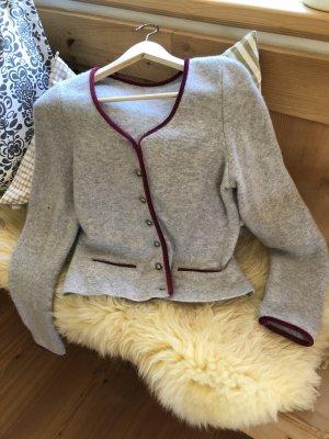 Veste bavaroise gris clair-rouge foncé laine mérinos