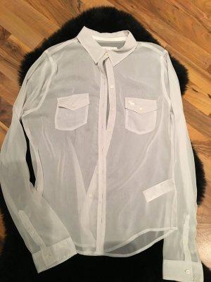 Graue Transparente Bluse L