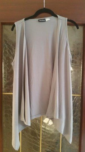 Gilet long tricoté gris clair