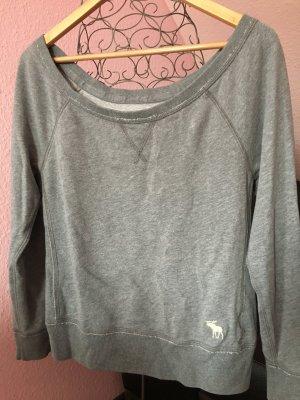 Grauer Abercrombie Sweater mit breitem, runden Hals