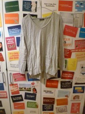 Grauer Basic Pulli von Promod, Shirt, S, M, 36, 38, Oversize, Glitter