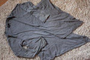 Grauer Baumwoll-Cardigan mit Wasserfallkragen