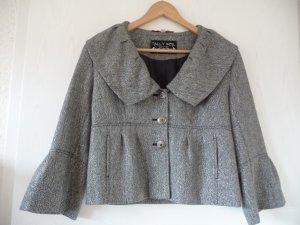 grauer Blazer,Jacke,feine Glitzerfäden,ausgestellte Ärmel, breiter Kragen, 38-40