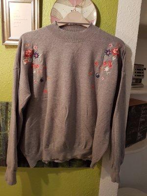 grauer Blumenmuster Pullover, Größe XL