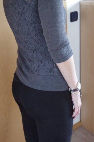 grauer Cardigan mit Spitze am Rücken von edc