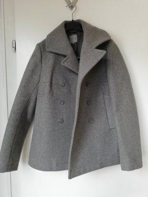 COS Wollen jas lichtgrijs-donkergrijs Wol