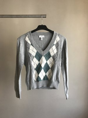 Grauer Karierter Pullover