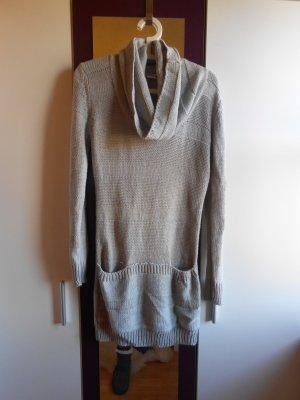 Grauer Long-Pullover mit Wasserfallaausschnitt in Größe S