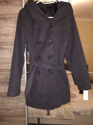Grauer Mantel mit Kapuze Größe M
