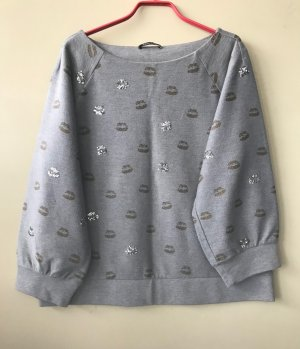 grauer Margittes Baumwoll-Sweater mit Muster und Pailetten