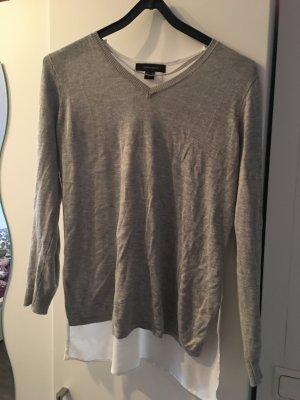Grauer Pullover mit Blusen-Detail