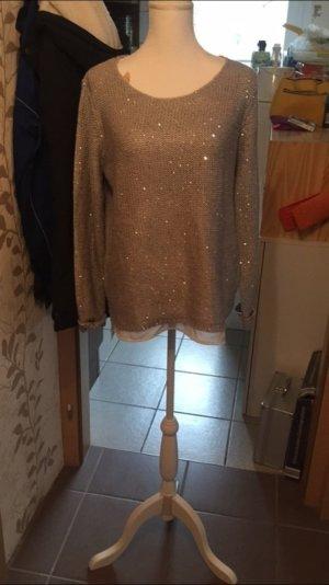 Grauer Pullover mit Pailletten
