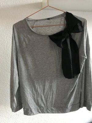 grauer Pullover mit schwarzer Schleife, H&M, Größe M