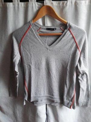 Mango V-Neck Sweater grey-neon orange