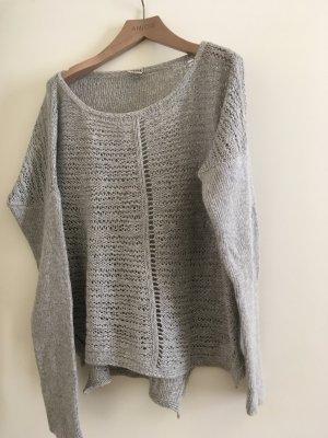 Grauer Pullover von object aus wolle und viskose, Größe large.