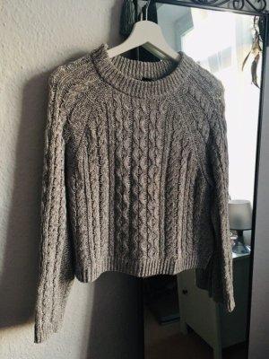 Grauer Pullover Zopfstrick in S