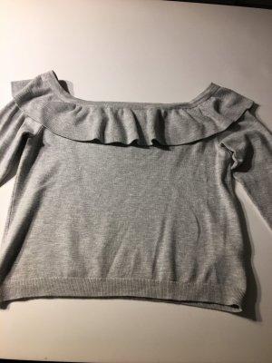 Grauer Schulterfreier Pullover