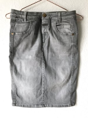 Grauer Superstrech Denim Rock - Grey Denim Powerstrech Skirt