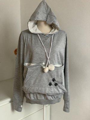 Grauer Sweater Sweatshirt Hoodie mit Hündchentasche