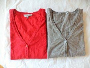 grauer und roter Cardigan als Set