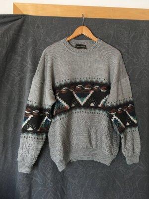 Vintage Noorse trui grijs-donkergrijs Gemengd weefsel