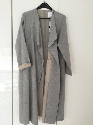 Grauer Viscose Woll Mantel von Mango