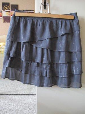 H&M Falda con volantes gris antracita-gris Poliéster