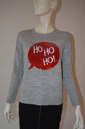 Grauer Weihnachtspullover mit Schiebepailletten H&M Gr. S