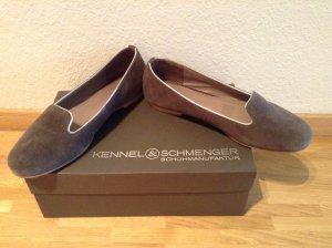Grauer Wildleder Loafer von K&S - mit silbernem Rand - Vollleder