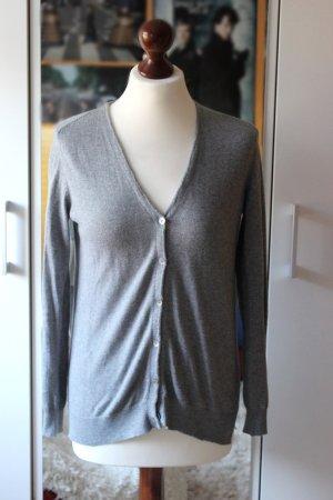 Grauer Zara Basic Cardigan mit Ellenbogenpatches Gr. 36 38 S