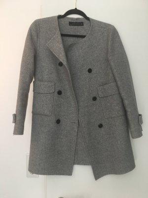 Zara Manteau en laine argenté-gris clair