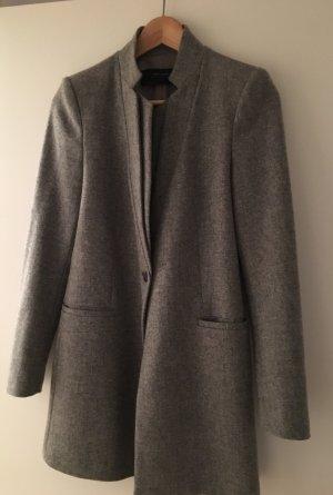 Grauer Zara Übergangsmantel mit Wolle in XS