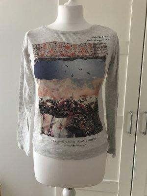 Graues 3/4 Shirt mit Aufdruck Gr. XS