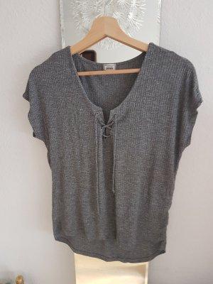 Graues Basic Shirt mit Schnürung