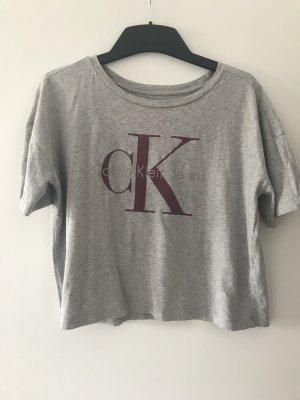 Graues Calvin Klein Crop T-Shirt