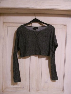 graues Crop Shirt mit langen Armen