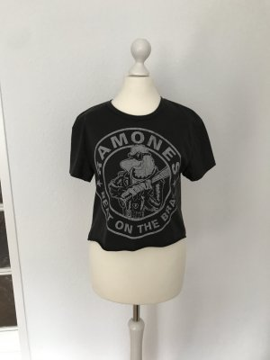 Graues cropped Ramones T-Shirt