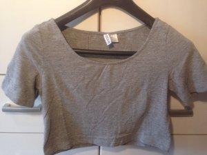 H&M Cropped shirt lichtgrijs-grijs