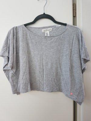Graues cropped T-Shirt mit Fledermaus Ärmeln