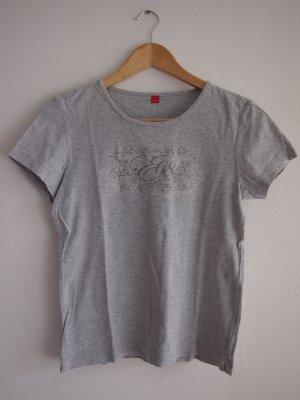 Graues Esprit-T-Shirt mit dunkelgrauem Aufdruck