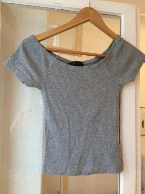 graues fast Schulterfreies Shirt