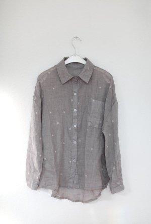 Graues Hemd Bluse mit Sternen Grau Vintage Stil Gr. M Baumwolle NEU