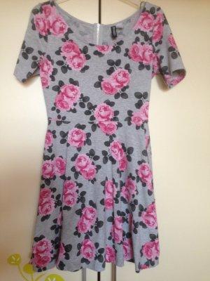 Graues Kleid mit rosa Blumen, H&M, Gr.38