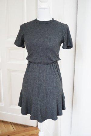 Graues Kleid Rippenstrick Baumwolle stretchig dunkelgrau ASOS Herbst 36 S